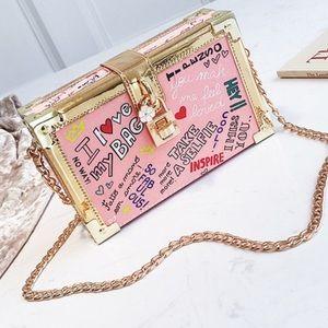 Handbags - Cute Pink Graffiti Chain Strap Box Bag